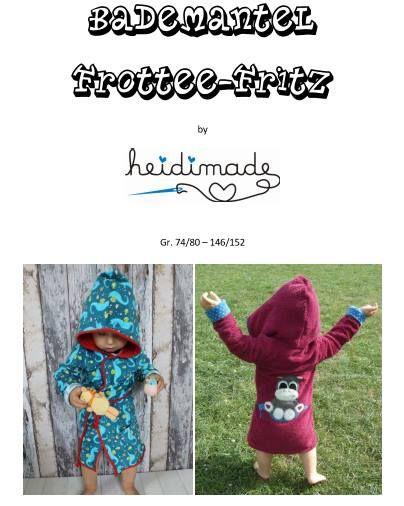 Bademantel Frottee-Fritz by Heidimade 74/80 - 146/152 - dort unter Downloads