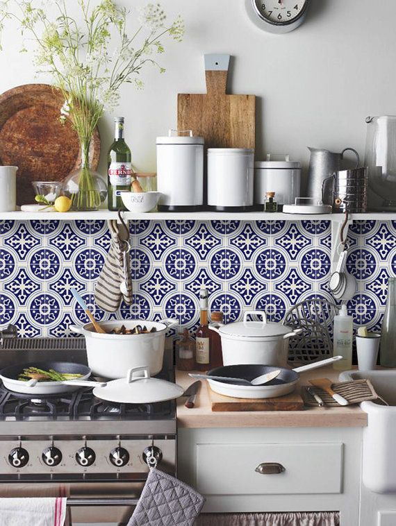Tile Decals - Tiles for Kitchen/Bathroom Back splash - Floor decals - Mexican Indigo Blue Cleft Vinyl Tile Sticker Pack