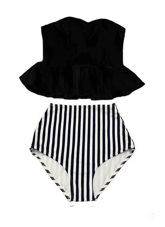 Black Strapless Long Peplum Top and black/white by venderstore