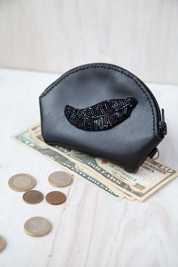 Leather coin purse - Black women coin wallet - Zippered Pouch