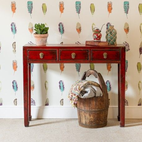 A Red Chinese Elm Console Table Finished In A Red Lacquer With Three  Drawers Drawers And