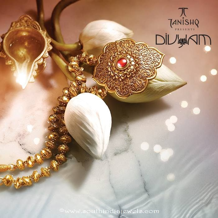Gold Antique Necklace Design from Tanishq Divyam Collections