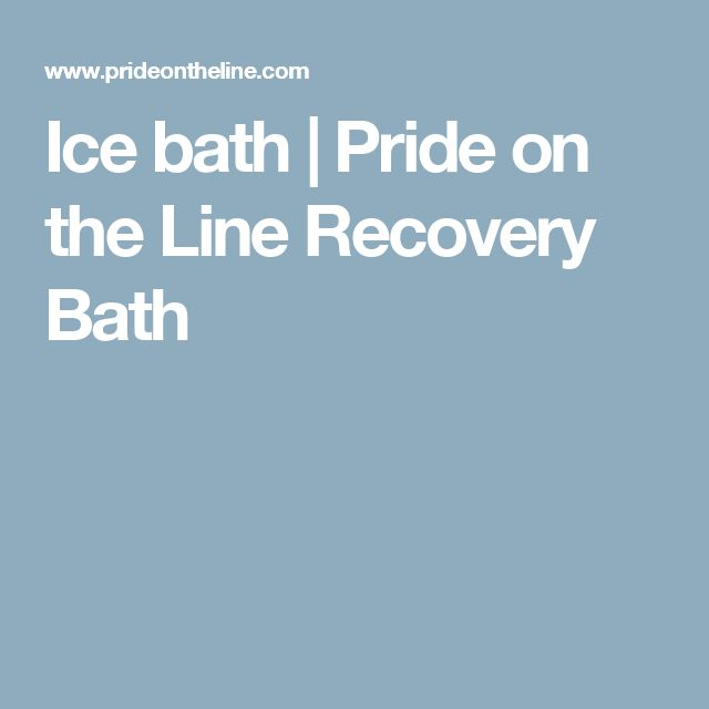 Ice bath | Pride on the Line Recovery Bath