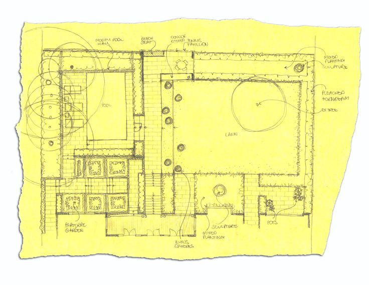 Landscape Design sketch for the rear garden of this Melbourne property is by Ian Barker Garden Design