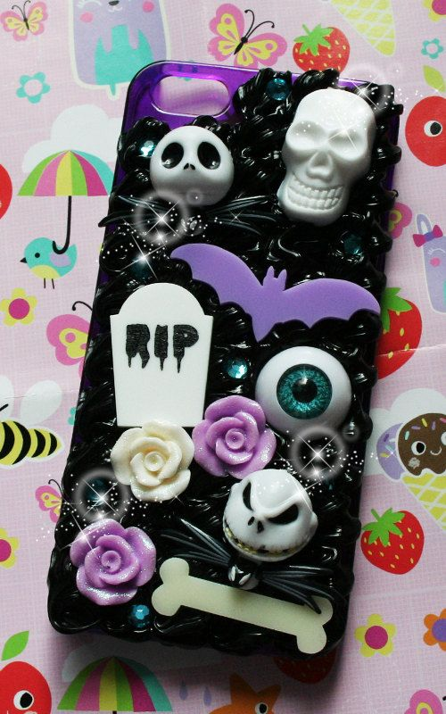 cutekawaii 'Jack Skellington Halloween Queen' Whipped Cream Frosting Kawaii Decoden Phone Case - ANY PHONE MODEL - please read description