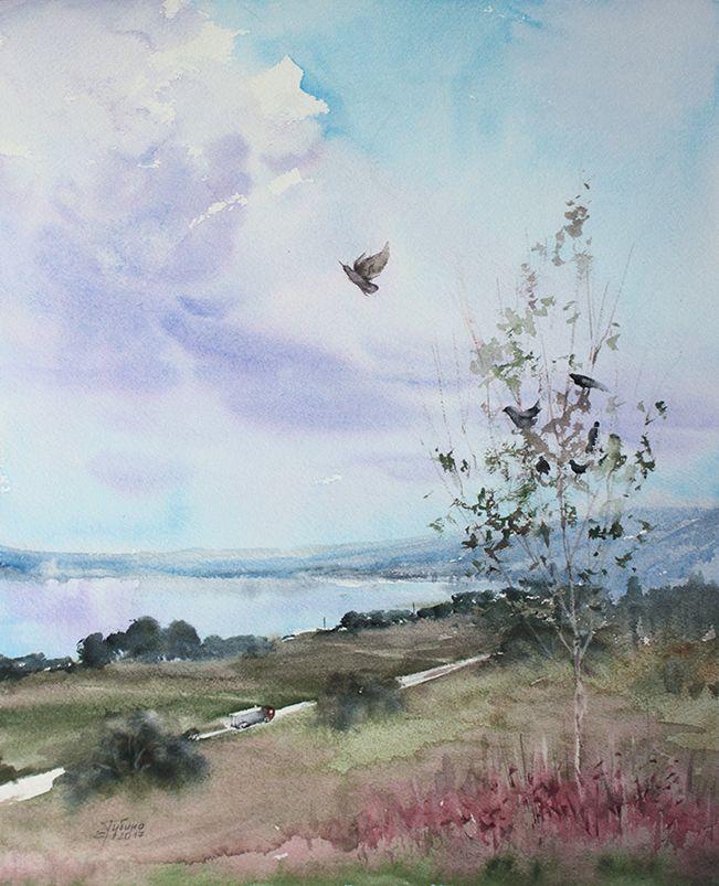 Пейзаж, живопись акварелью Екатерины Губиной