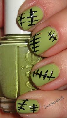 Monster High Frankie Stein inspired nails #nailart #nailpolish #Halloween
