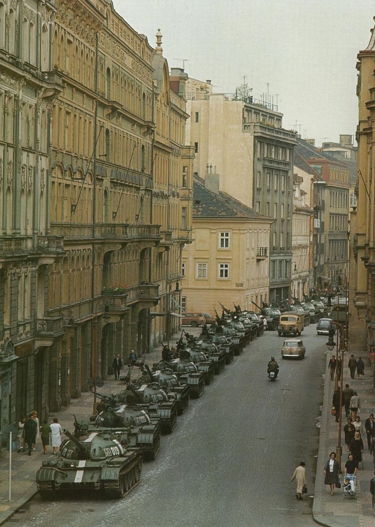 Soviet tanks parked in the streets of Prague, 1968. Photo by Ralph Crane for LIFE Magazine