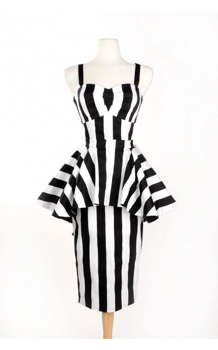 Pinup Girl Clothing- Vintage Goth Pinup Capsule Collection- Glamour Ghoul Dress in Black and White Stripe | Pinup Girl Clothing