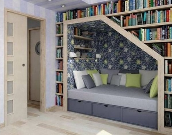 cozy book nook. i could live here...this would be my dream!