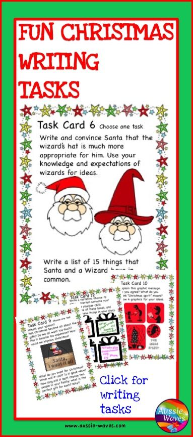 Printable Christmas Writing Activities. Task include, email, SMS, letters. FUN!