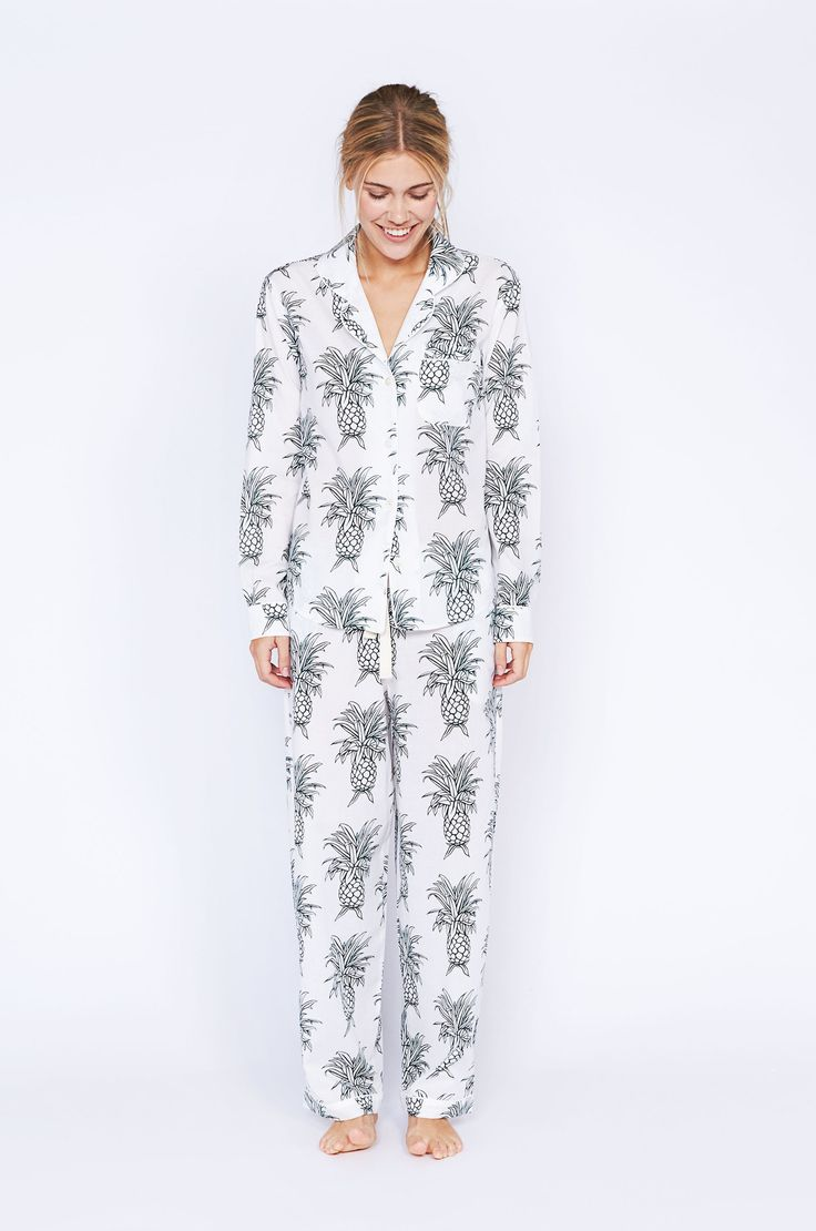 Howie Pineapple Print Long Luxury Cotton Womens Pyjama Set - White