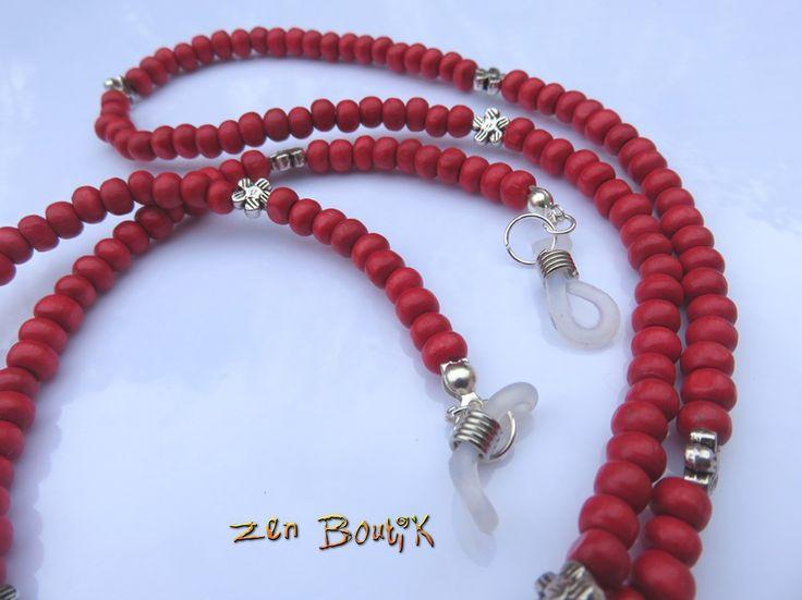 Cordon Lunettes perles Bois couleur Rouge : Lunettes, lunettes de soleil, cordons par zenboutik