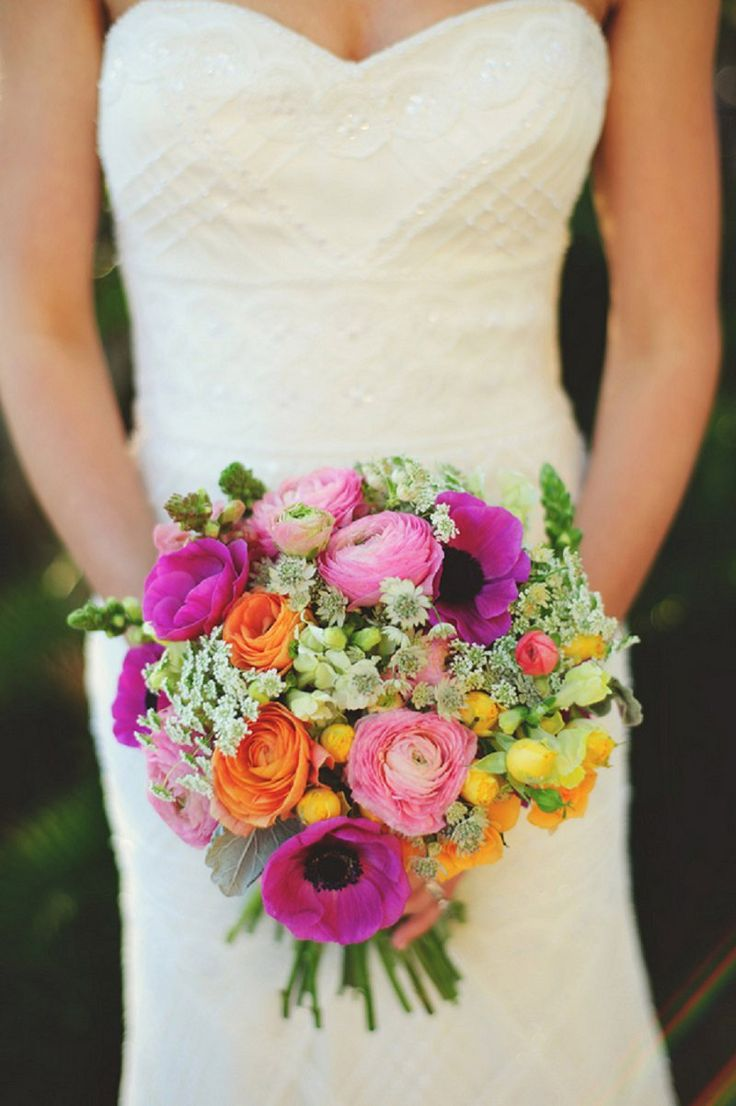 Gorgeous colorful bouquet! Image by http://www.jmizephotography.com, floral design by Freshly Picked