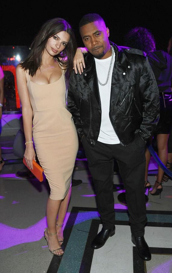 413c72a217f Actress Emily Ratajkowski and rapper Nas at Grand Opening of APEX Social  Club at Palms Casino Resort in Las Vegas