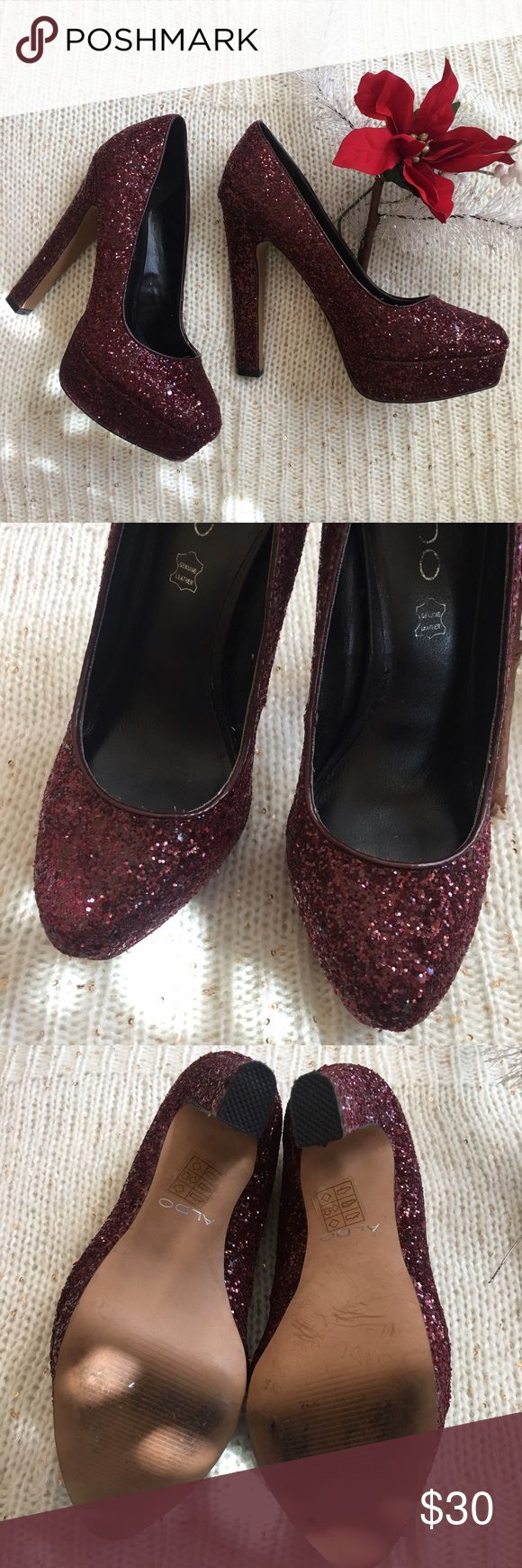 Burgundy Glitter Pumps Gorgeous glitter pumps from Aldo! Gently worn and have plenty of life left. They are leather and fabulously constructed! Aldo Shoes Heels