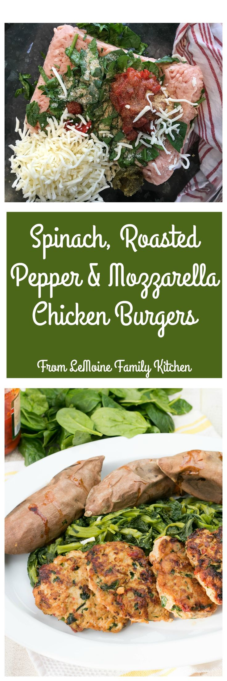 Spinach, Roasted Pepper & Mozzarella Chicken Burgers. Incredibly flavorful and a healthy way to enjoy a burger! These freeze well too so make a few batches and have a healthy meal on hand for those busy days.