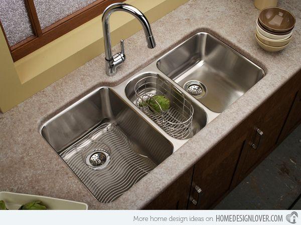 note: un des evier a un panier moins profond pour y laver des legumes 15 Functional Double Basin Kitchen Sink   Home Design Lover