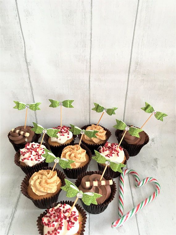 Bow Cupcake Toppers Set of 10 Christmas Party Picks Festive