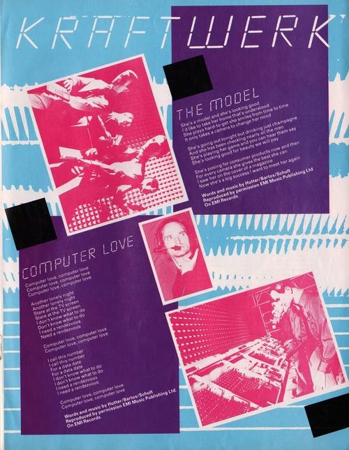 Kraftwerk, lyrics page for Computer Love/The Model, 1982  via