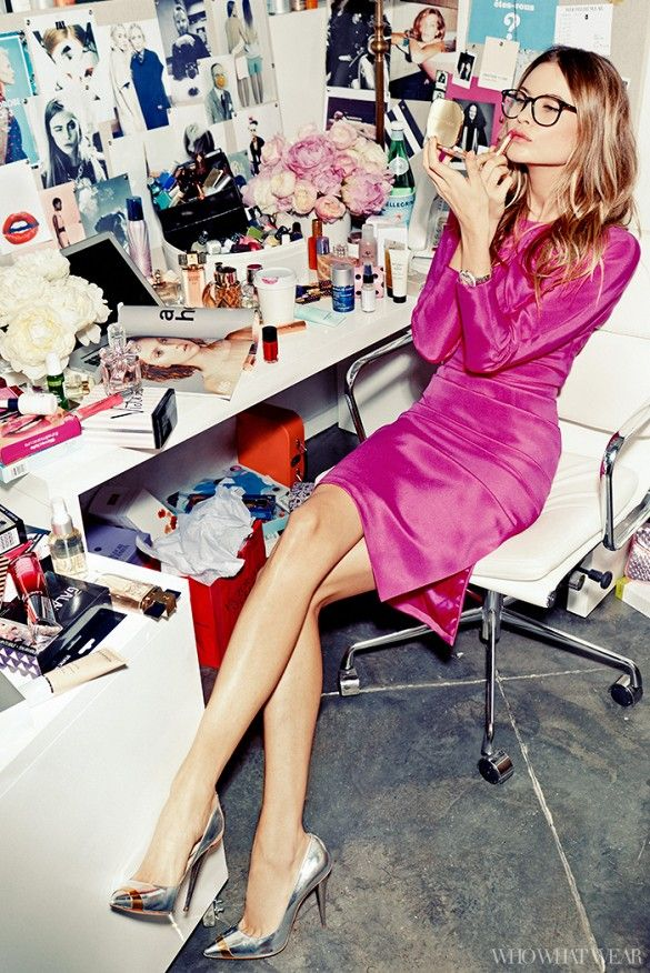 Behati Prinsloo plays a Who What Wear editor in a hot pink dress, metallic heels and nerdy-chic glasses