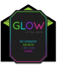 Customizable, free Glow in the Dark online invitations. Easy to personalize and send for a glow in the dark party. #punchbowl