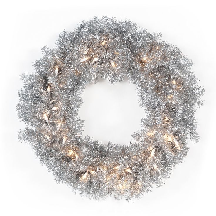 Have to have it. 24 in. Classic Silver Pre-lit Wreath $17.98