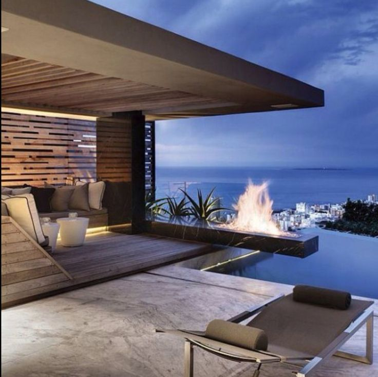 Gorgeous entertaining terrace # cliffside residence # stunning views # infinity…