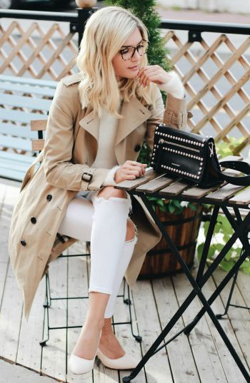 The trench coat trend + never been hotter + Venice Greel + stunning beige coat + white jeans + white tee + overall neutral + we adore.   Outfit: Burberry.