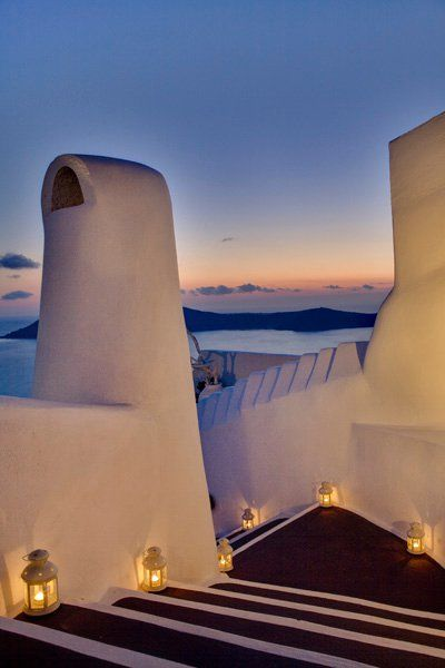 Traditional-Cob-Chimneys-Slush Grout-Stairs-Caldera-View-Honeymoon-Hotel-Outdoor