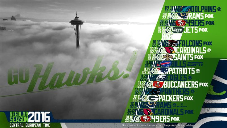 Schedule wallpaper for the Seattle Seahawks Regular Season, 2016. All times CET. Made by #tgersdiy