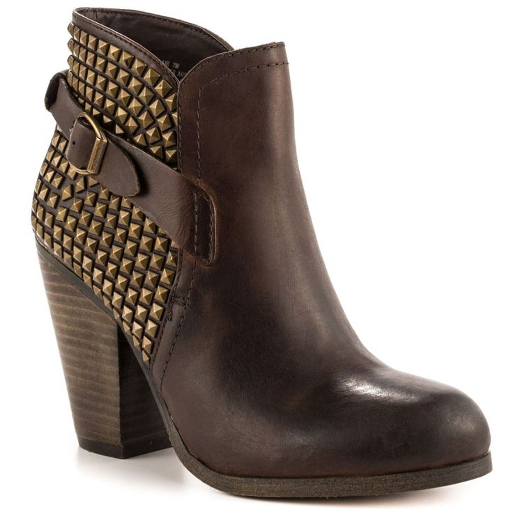 Steve Madden - Alani Price: $170 The Alani adds edge to any look. This  Steve Madden ankle boot features a brown leather upper with studded back  and sides.