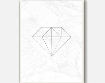 Silver Diamond Poster Modern Wall Art