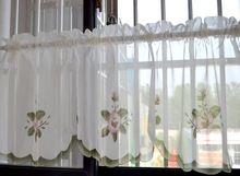 Вышитые цветок лилии короткие кухонные занавески с родом pocket обработки 150 x 45 см cortinas пункт сала(China (Mainland))