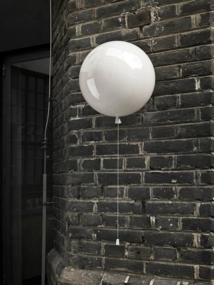 Grey Interior - Brokis lights - White balloons Memory are hanging lights. Design by Boris Klimek.