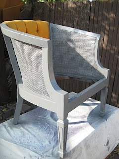 Grey painted cane chairs