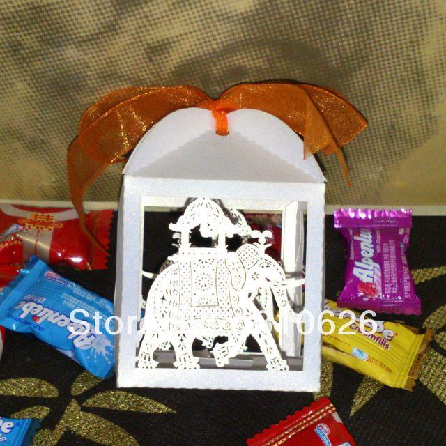 2014 nieuwe gratis verzending 50 stks witte olifant laser cut bruiloft snoep gunst doos gift dozen snoep voor verjaardag