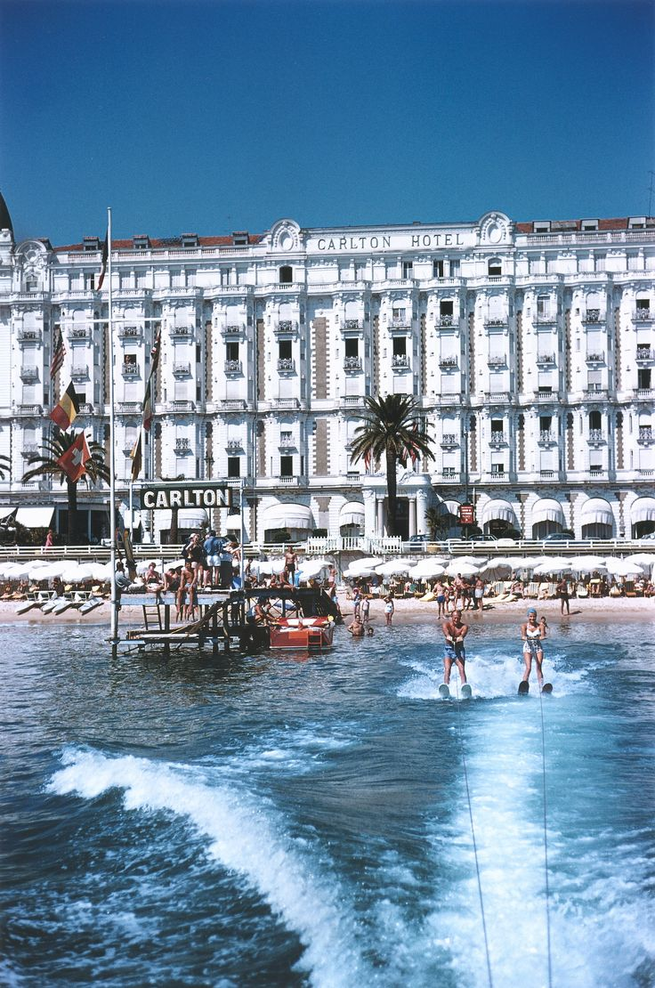 Holiday makers water-skiing in front of the Carlton Hotel, Cannes 1958. See more amazing gift ideas starting at just £65 in our prints collection.