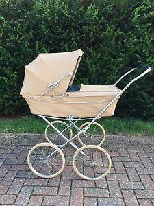 Vintage-Marmet-Brown-amp-Blue-Leather-Baby-Pram-Buggy-With-Waterproof-Mattress