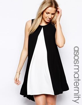 Image 1 of ASOS Maternity Swing Dress With Contrast Front And Dipped Hem | $71.49