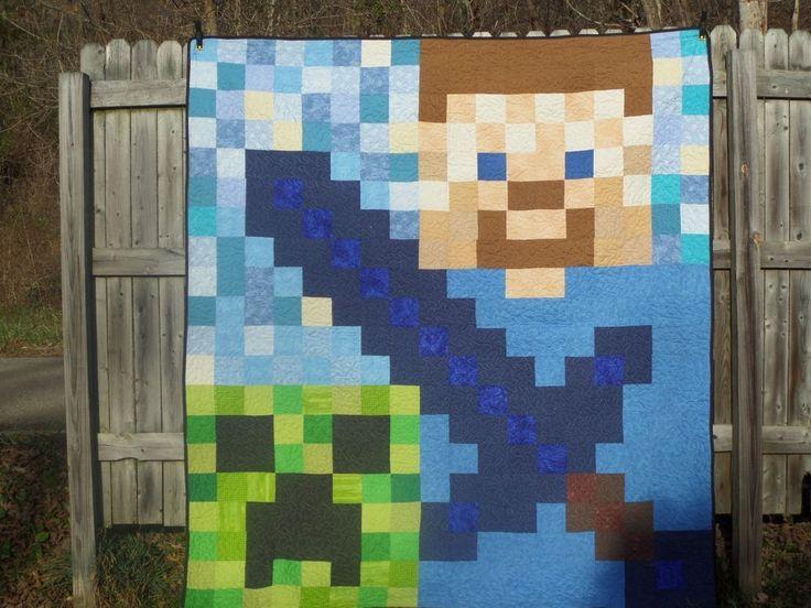 Handmade Quilt Blanket 76x84 Pixel Minecraft Lego