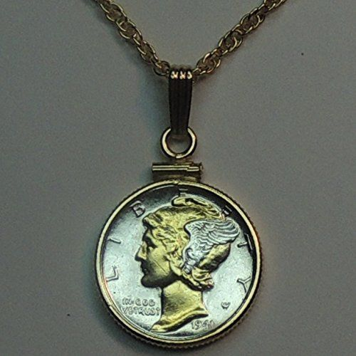 Old U.S. Mercury dime 2-Toned Gold and Silver coin Necklace
