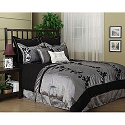 Wendy Flocked Luxury 7-piece Comforter SetSets King, Beds In A Bags, 7Piece Comforters, Floral Comforters, Comforter Sets, Piece Grey, Black Embroidery, Bedrooms Decor, Comforters Sets