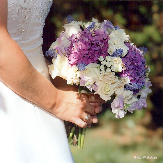 Stoneblossom Florals' Purple Hydrangeas, White Rose and Lily of the Valley Bouquet