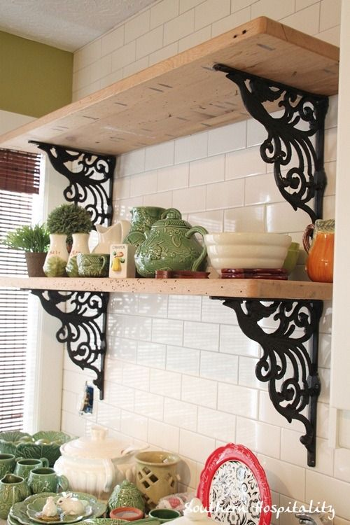 love these shelves! perfect for my collection :) @Southern Hospitality Rhoda shelves are hung