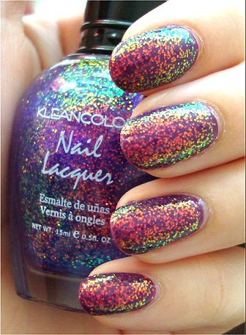 Kleancolor Chunky Holo Purple over OPI Can You Dig It? (pic swatchandlearn)