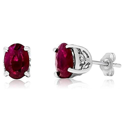 14k White Gold Oval Red Ruby Gemstone and Diamond Stud Earrings, Birthstone of July. #love @shoppevero @amazon #shoppevero