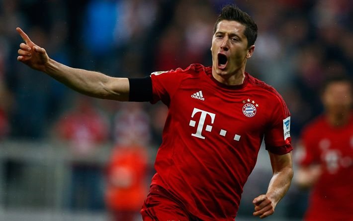 Download wallpapers 4k, Robert Lewandowski, goal, Bayern Munich, football, Germany, Bundesliga, soccer, Lewandowski