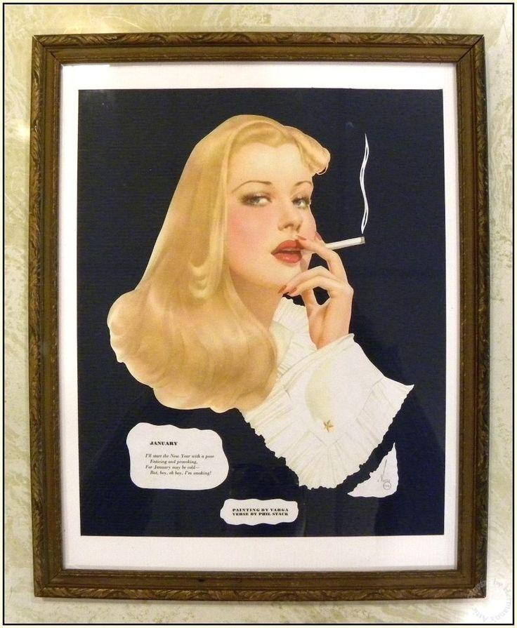 Esquire Vargas Calender Girl, Jan. 1942, Smoking Hot Blonde, Cut & Framed Pinup