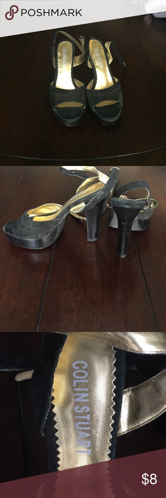 Black strappy Colin Stuart Heels Black suade. Colin Stuart. Straps around ankle. Pretty used selling for cheap Colin Stuart Shoes Heels